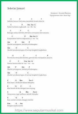 chord sebelas januari / 11 januari band gigi