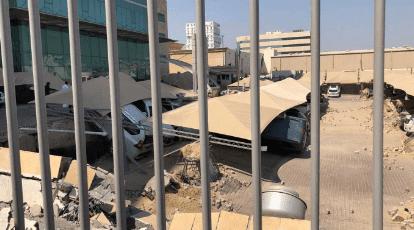 انهيار أرضية موقف ابراج السعيد بالخبر شرقي السعودية