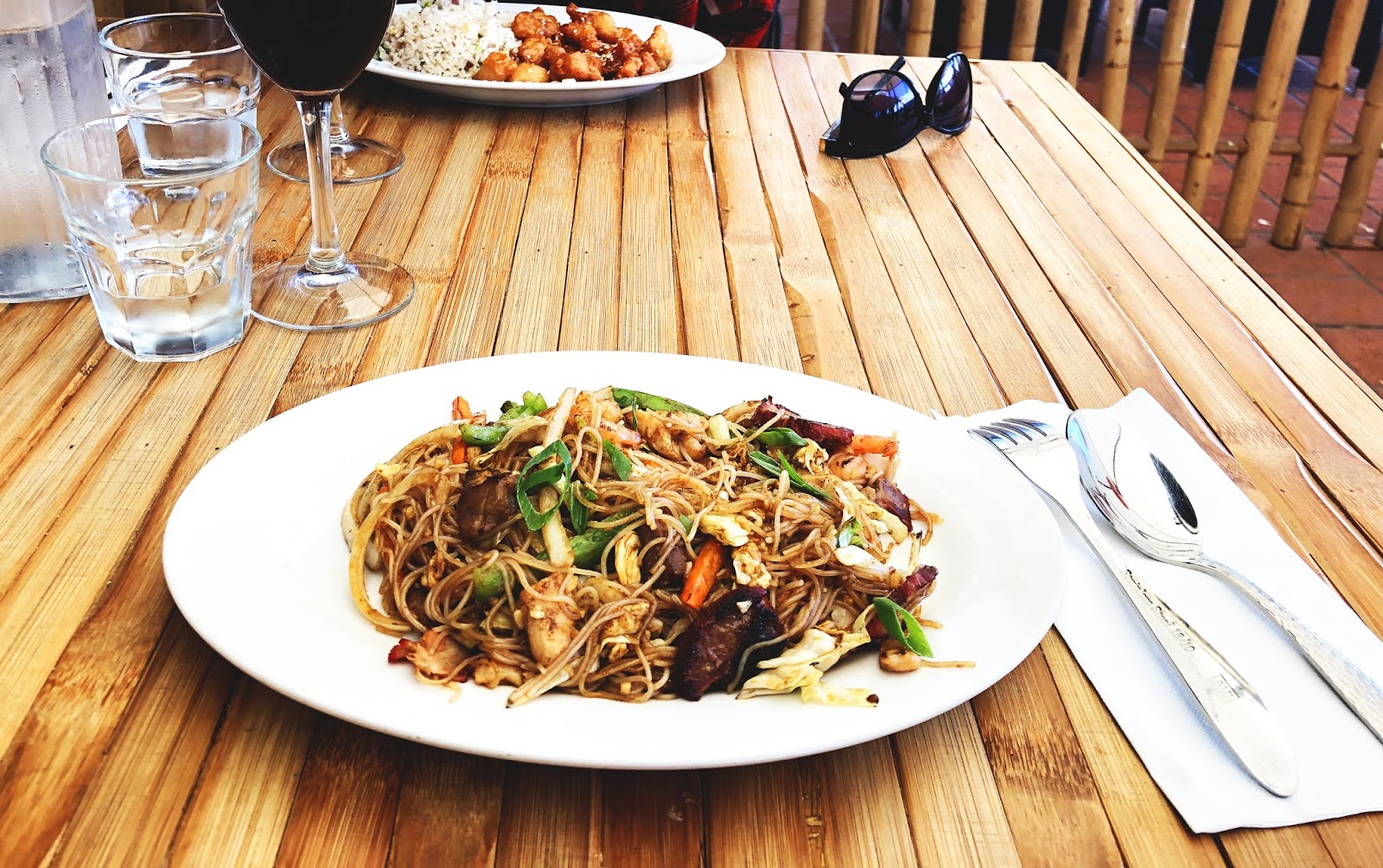 Chinese nooodle dish on the table at Bargara Asian Cuisine