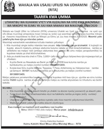 RITA PUBLIC NOTICE ABOUT BIRTH/DEATH CERTIFICATES VERIFICATION FOR HESLB LOAN APPLICATION 2019/2020
