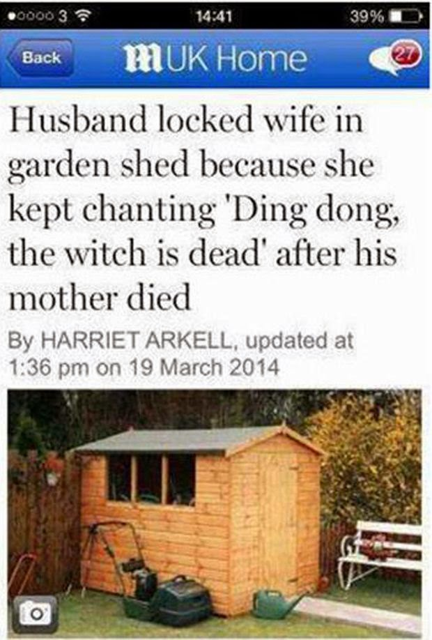 Funny Husband Locks Wife Shed Joke Picture