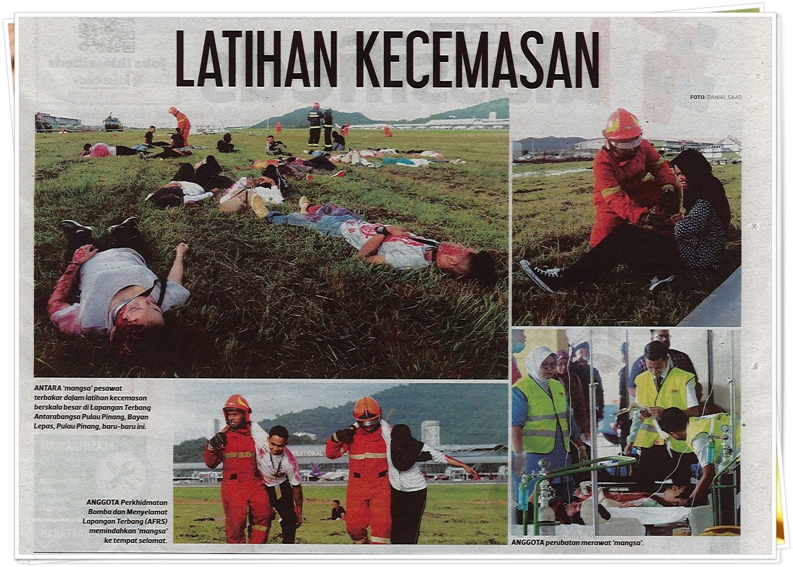 Lensa kamera : Latihan kecemasan - Keratan akhbar Harian Metro 31 Oktober 2019