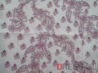 Chikan-hand-embroidery-red-white-dress-material