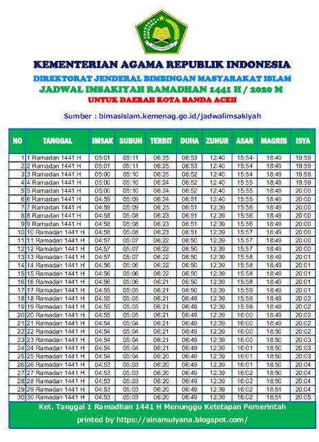 Jadwal Imsakiyah Ramadhan 2020 (1441 H) seluruh Kota Banda Aceh