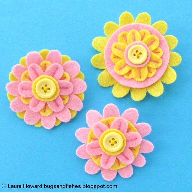 Felt Flower Brooches Tutorial