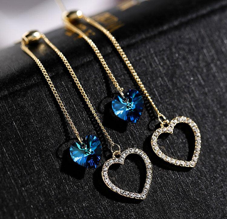 心心相印絕美藍水晶耳環