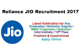 Reliance Jio 1655 Freshers & Experienced Recruitment 2017
