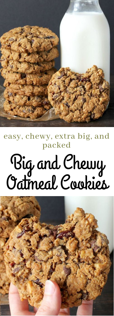 Big and Chewy Oatmeal Cookies #dessert #cookiesrecipe