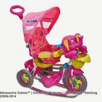 Sepeda Roda Tiga Royal RY8288CJ Gajah dengan Canopy dan Jok Kain