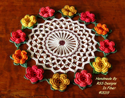 3D Rose Doily with Coral and Yellow Crochet Roses - Handmade By Ruth Sandra Sperling of RSS Designs In Fiber