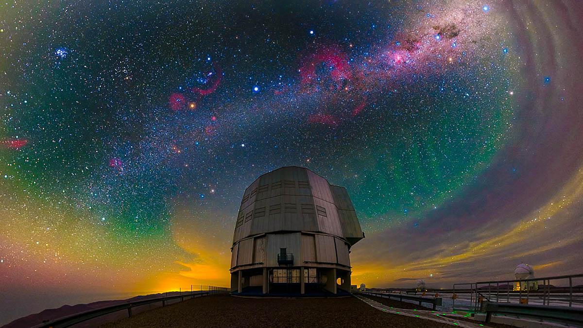 Nebulosas, constelações e eventos sobre Antu