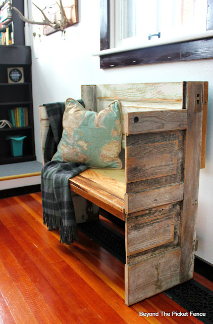 old door bench, woodworking, salvaged, DIY, entryway, bench, Minwax, plaid wool blanket, http://bec4-beyondthepicketfence.blogspot.com/2016/02/a-door-able-bench.html