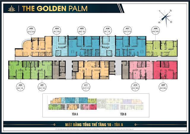 Mặt băng tổng thể tầng 10 tòa A chung cư The Golden Plam
