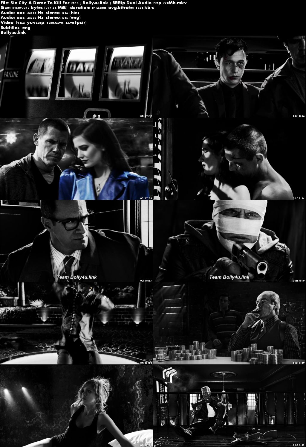 Sin City A Dame to Kill For 2014 BRRip 300MB Hindi Dual Audio 480p Download