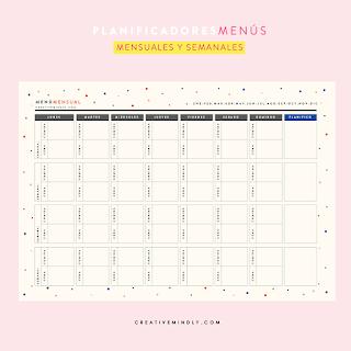 imprimible menus semanales mensuales