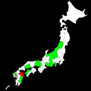 既にタンデム可の地域を緑で塗ってある: 長野,兵庫,愛媛,広島,山形,新潟,宮崎,佐賀,愛知,群馬,京都,富山,大阪,静岡 3月14日から可となる大分県を赤で塗ってある