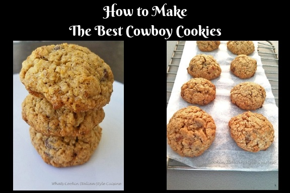 this is how to make the best cowboy cookie dough and the best cowboy cookies loaded with coconut, nuts, chocolate chips, buttery flavored stacked three on top of each other on a white plate. These cookies are famous all over the web sometimes called everything cookies, rock cookies, oatmeal loaded cookies, loaded cookies or cowboy cookies.