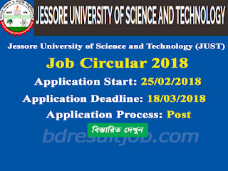 JUST Associate Professor, Assistant Professor and Lecturer Job Circular 2018