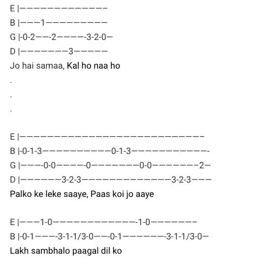 Kal Ho Naa Ho Tabs / Kal Ho Naa Ho / Kal Ho Naa Ho Guitar Tabs / Kal Ho Naa Ho Lead Notes / Kal Ho Naa Ho Hindi Songs Tabs / Sonu Nigam / Love Song Bollywood / Kal Ho Naa Ho Movie / Gaane / Hindi Songs