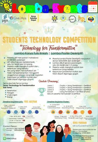 Lomba Karya Tulis Ilmiah & Poster Nasional STC KSE 2019 SMA Sederajat & Mahasiswa