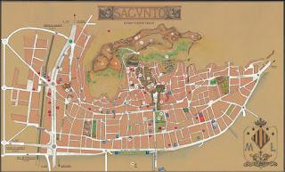 Mapa de la ciudad vieja de Sagunto.
