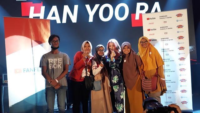 Foto bareng Han Yoo Ra di YTFF Collabonation IM3 Ooredoo