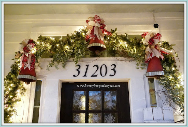 Cottage- Farmhouse- Christmas -Porch-Jingle-Bells-DIY-Bows -From My Front Porch To Yours