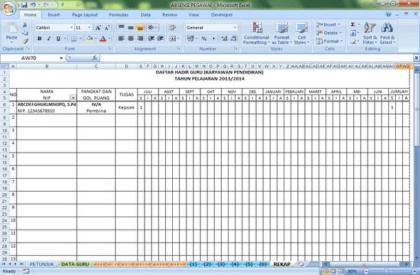 Absensi Daftar Hadir Guru Format Microsoft Excel Arsip Media Edukasi