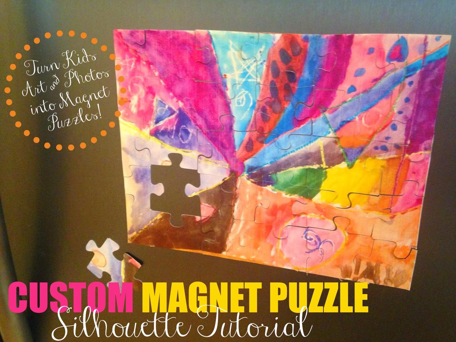 Silhouette tutorial, custom puzzle magnet, DIY, do it yourself