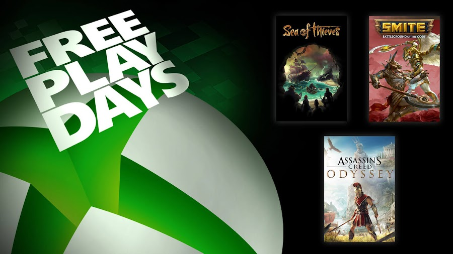 assassin's creed odyssey sea of thieves smite xbox live gold free play days event