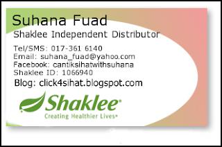 Suhana Fuad adalah Pengedar Sah Shaklee Puchong serta seluruh Malaysia