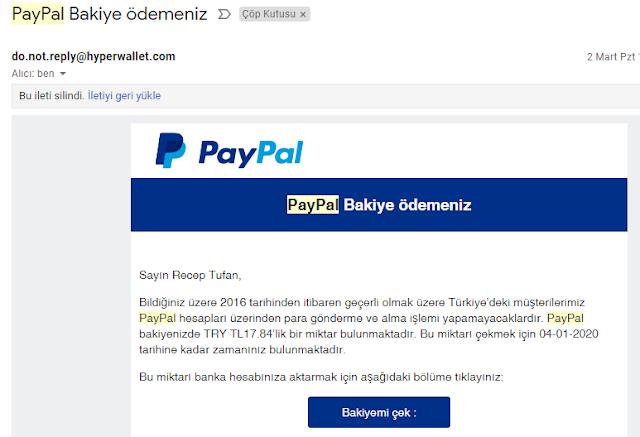 PayPal Bakiye Ödemesi ile İlgili Mailler Güvenli mi?