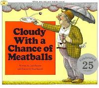 Okładka książkowego pierwowzoru, Cloudy with a Chance of Meatballs, autorstwa Judi Barrett