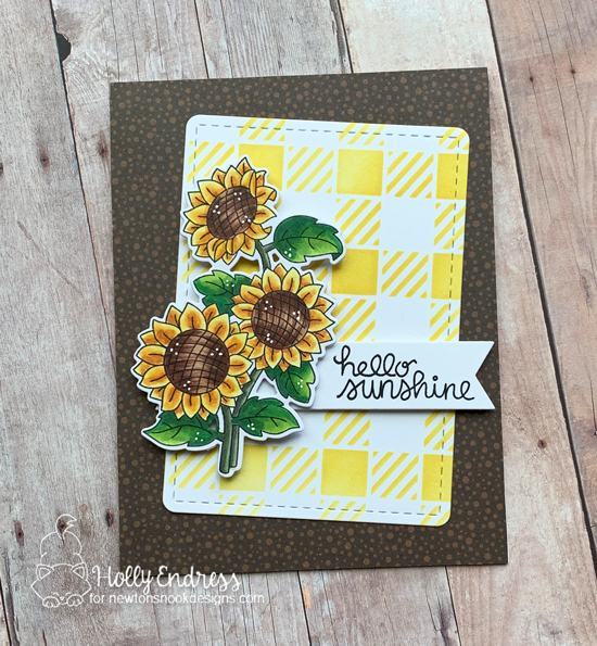 Sunflower Card by Holly Endress | Sunflower Days Stamp Set and Gingham Stencil by Newton's Nook Designs #newtonsnook #handmade