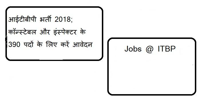 आईटीबीपी भर्ती 2018; कॉन्स्टेबल और इंस्पेक्टर के 390 पदों के लिए करें आवेदन ( Jobs @ ITBP )