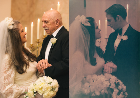 Пожилые супруги повторили свадебную фотосессию спустя 50 лет, напомнив о самом важном в жизни