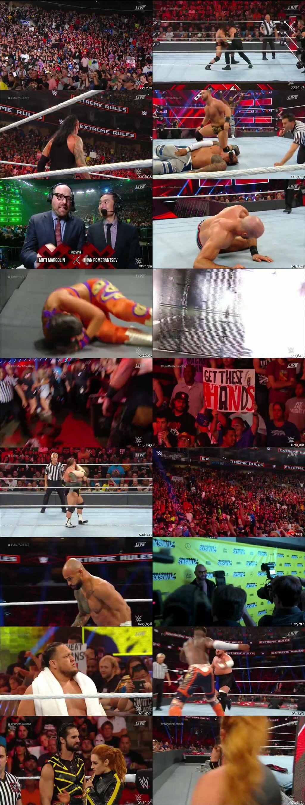 Screen Shot Of WWE Extreme Rules 14th July 2019 HDTV 480P 300MB