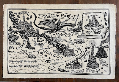 """The Lord of the Rings """"Middle Earth Map"""" Linocut Print by Brian Reedy x Bottleneck Gallery"""