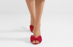 Prada Red Bow Embellished Suede Slides with Heels
