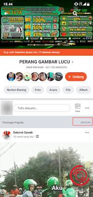 1. Kalian bisa menggunakan aplikasi Facebook Seluler atau Facebook Lite, login via browser juga bisa. Langkah pertama buka grup Facebook yang kalian inginkan dan klik Urutkan