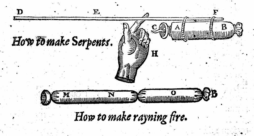 from an illustrated 1634 fireworks book, How to make serpents, and How to make raining fire