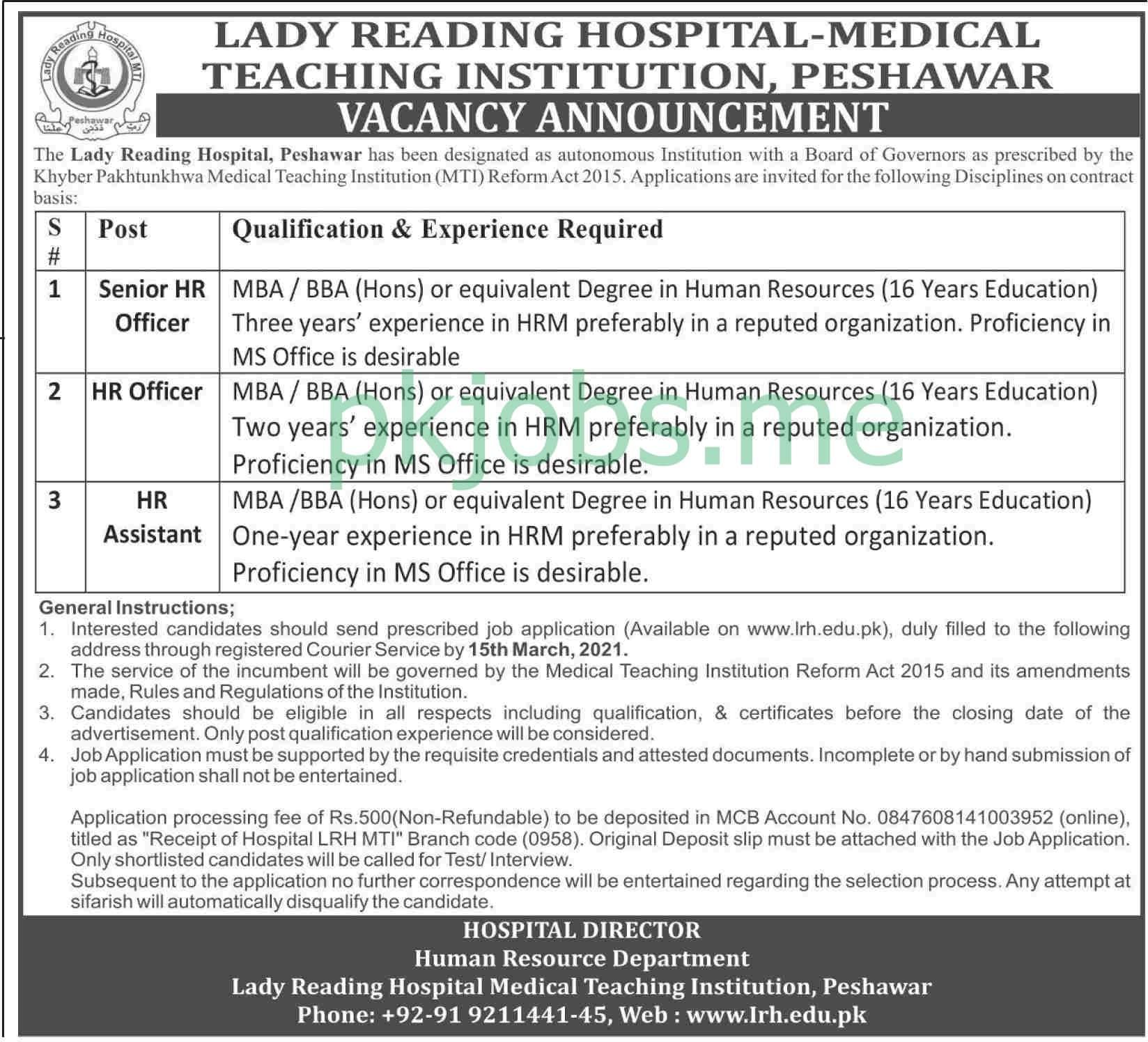 Latest Lady Reading Hospital Management Posts 2021