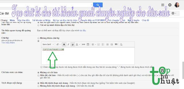 Tạo chữ kí cho tài khoản gmail thật chuyên nghiệp cho dân sale