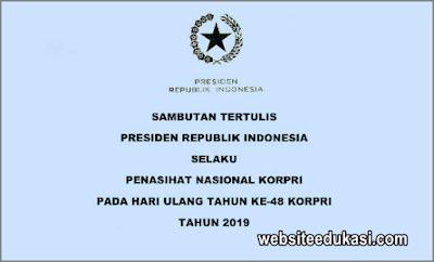 Sambutan Presiden HUT Ke-48 KORPRI Tahun 2019