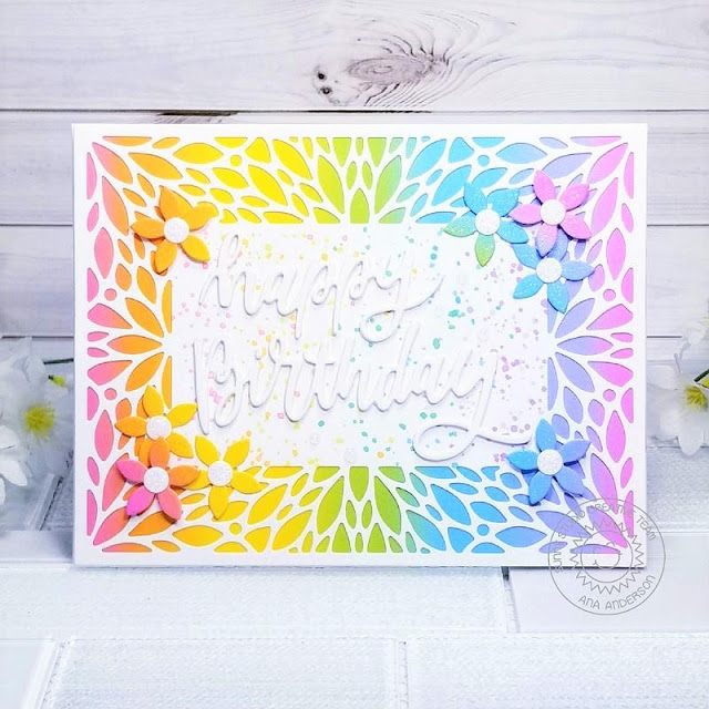Sunny Studio Stamps: Blooming Frame Dies Happy Birthday Card by Ana Anderson