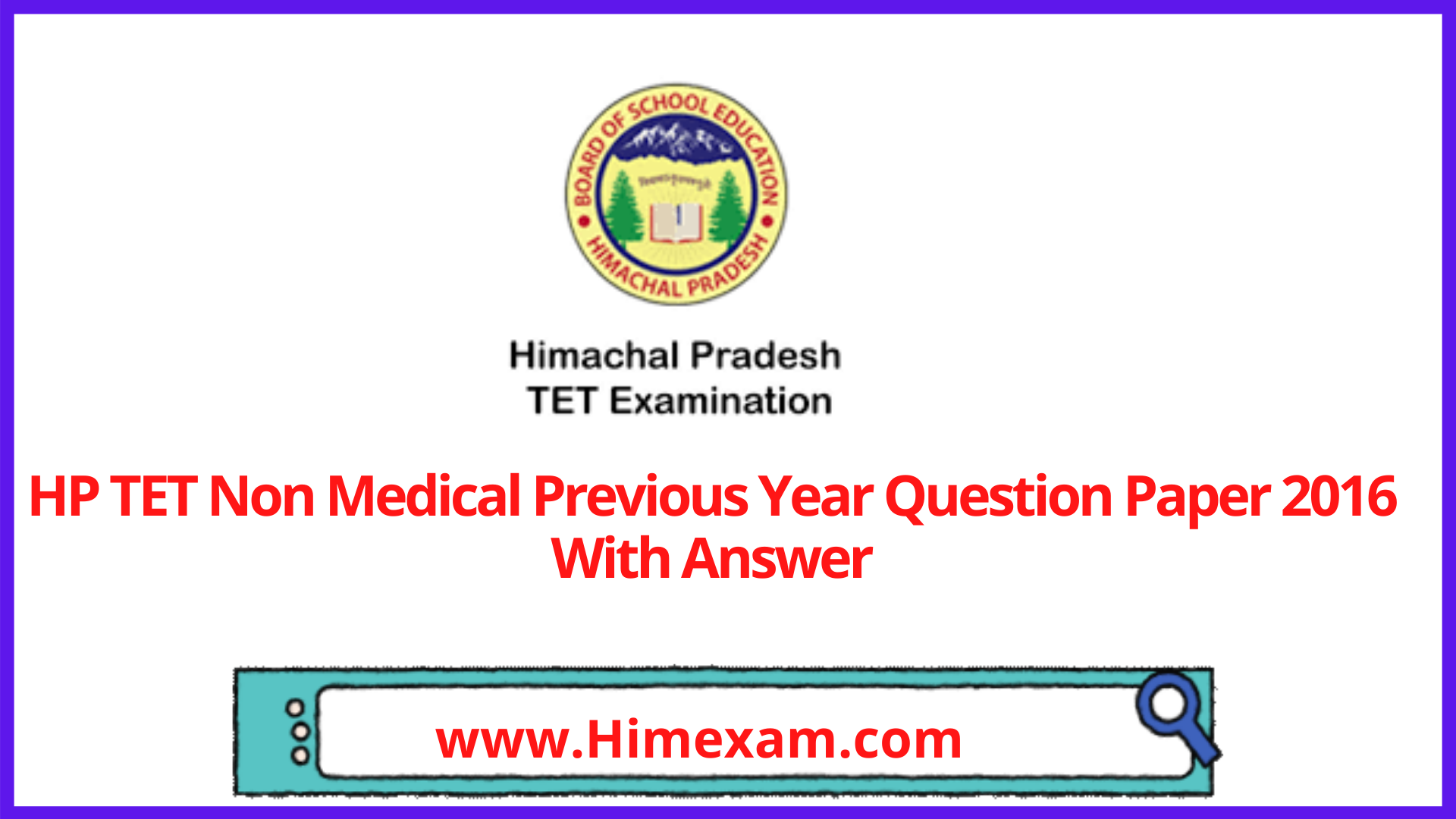 HP TET Non Medical Previous Year Question Paper 2016 With Answer