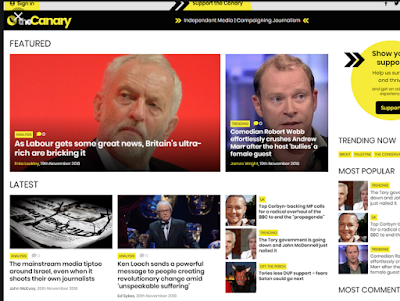 screenshot of The Canary, an alternative UK site.