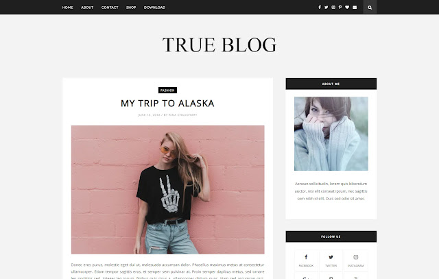 TrueBlog Responsive Personal Blog Simple Clean Minimalist Blogger Template Theme