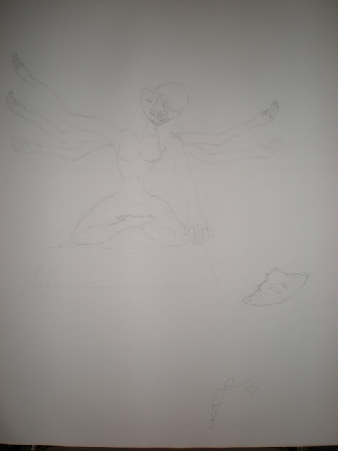An incomplete sketch of a six arm feminine statue.