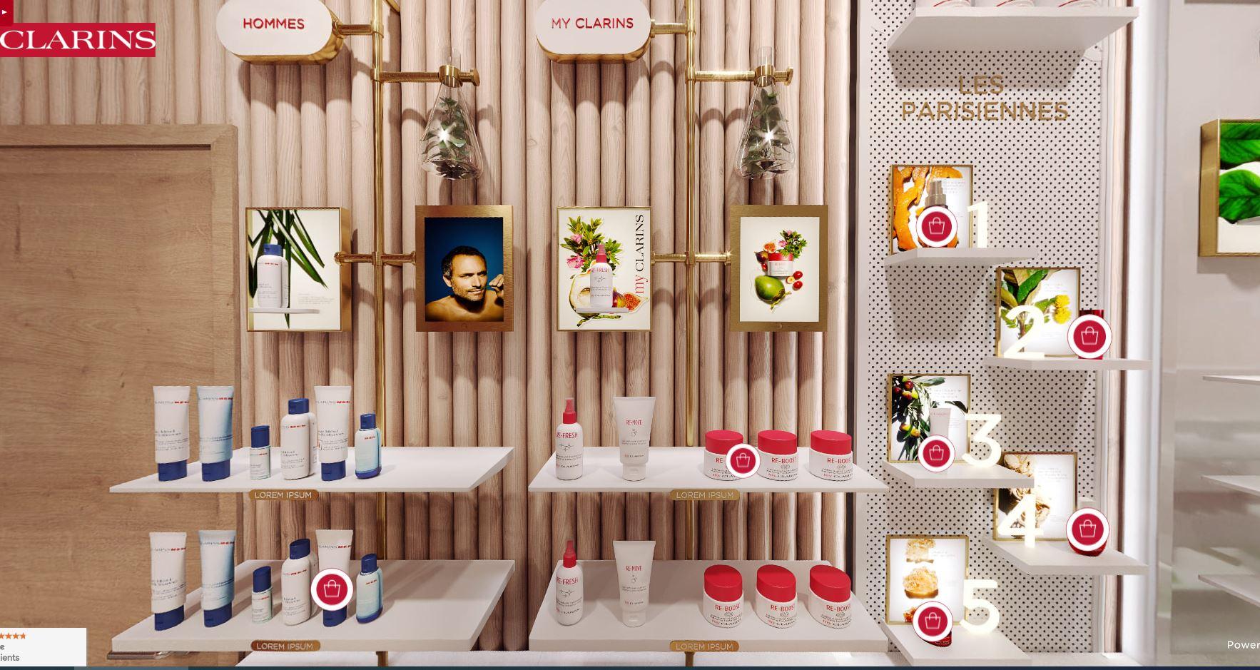 revue beauté visite virtuelle boutique clarins